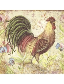 NAPKIN 33X33 PROUD ROOSTER