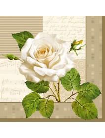 NAPKIN 33X33 WHITE ROSES OF CREAM
