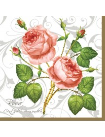 NAPKIN 33X33 TWO ROSE OF WHITE/ SILVER