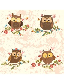 NAPKIN 33X33 BROWN OWLS ON TWIGS