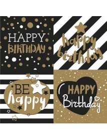NAPKIN 33X33 GOLDEN HAPPY BIRTHDAY